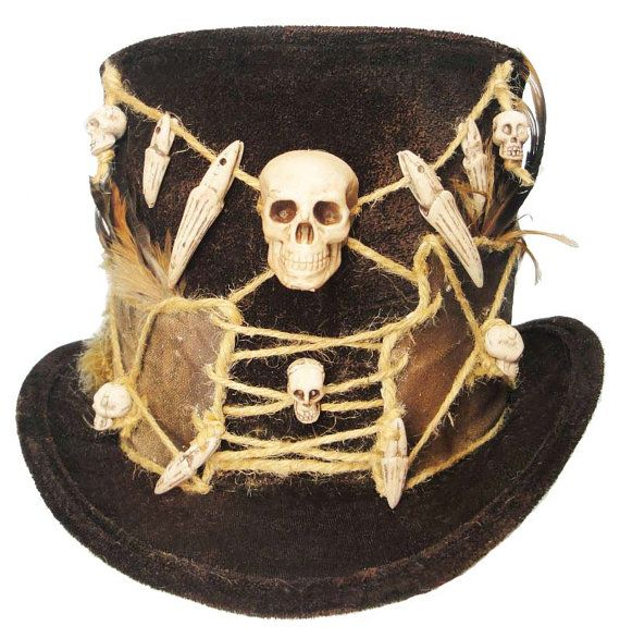 Witch Doctor  Dapper Voodoo Gothic Victorian Steampunk Unisex Traveler Gypsy Explorer Top Hat  A one of a kind wearable art creation by Jenkitty