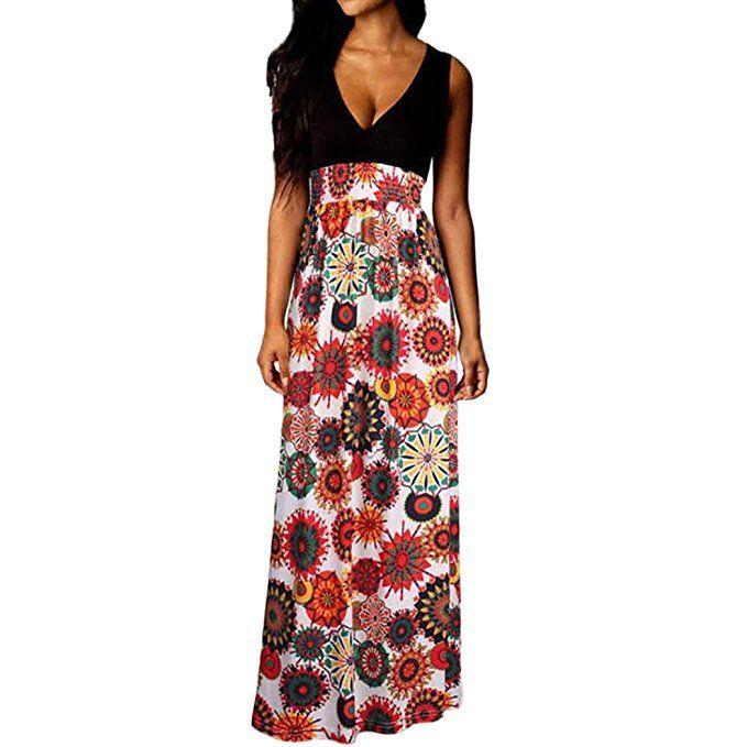 Kleider Damen, Voberry Frauen Damen Boho Maxi Sommer Strand lange  Cocktailparty Blumenkleid (A, S) - Sommer Hosen Trends sommer outfit damen  urlaub… 33fd851ae6