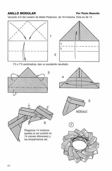 Diagrams for origami ring by Paolo Basceta.