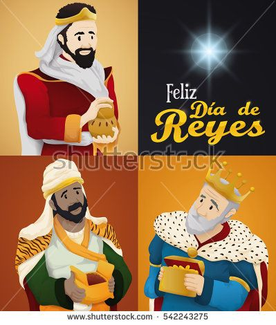 """Poster with the Biblical Magi portraits holding their gifts in Epiphany celebration (or """"Dia de Reyes"""": translation from Spanish)."""