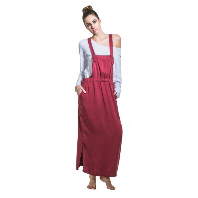 Long Dungaree Dress - Red Wine. Lightweight and casual. #giftsforher