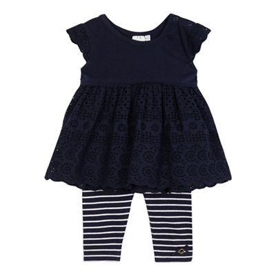 J by Jasper Conran Baby girls' navy broidery tunic and striped print leggings set- | Debenhams