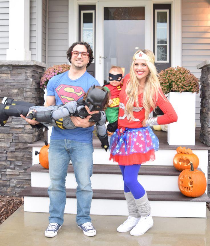 Superhero Family Halloween Costumers: Super-Dad, Wonder-Mama, Batman and Robin. #halloween #costumes #superheros