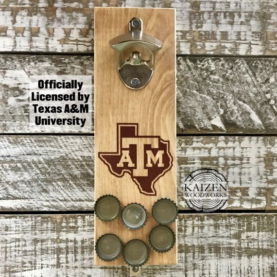 Texas A&M University Rustic Magnetic Bottle Opener  -  College Football NCAA - Officially Licensed - College Station Texas