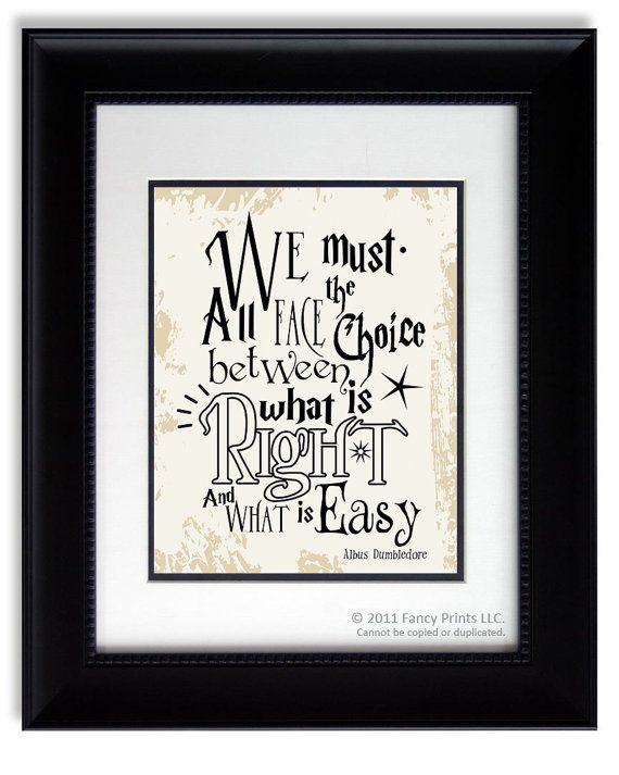 Harry Potter movie quote print Albus Dumbledore We Must All Face The Choice..  Kids Room print wall decor Christmas Gift Inspirational on Etsy, $15.00