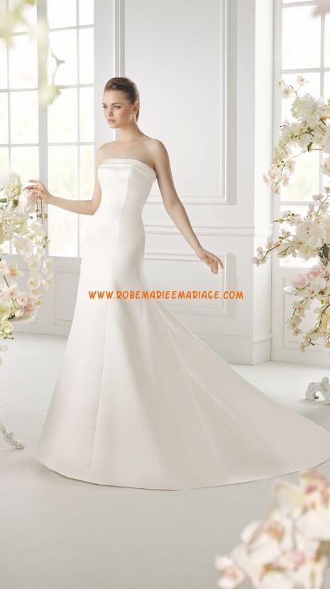 Robe de mariée sirène en satin traîne chapelle élégant et moderne