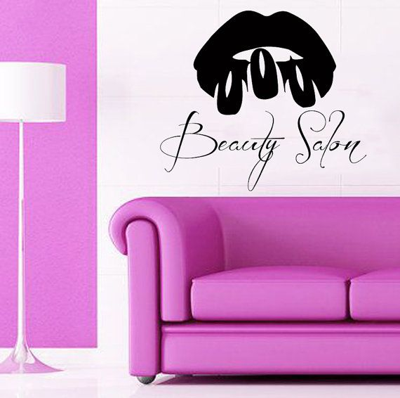 Wall Decals Girl Model Make Up Lips Nails by WallDecalswithLove