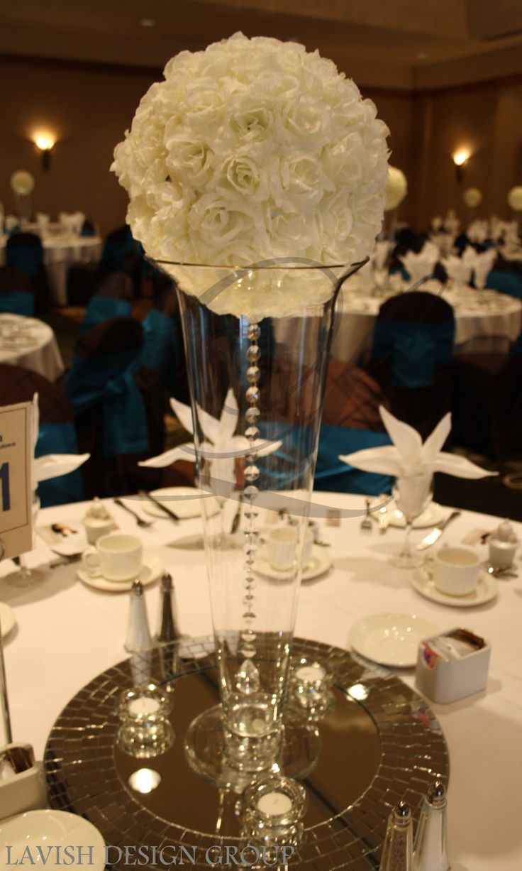 White rose ball with hanging crystal gem wedding