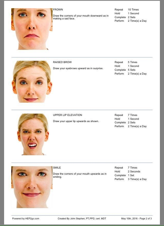 Facial exercises for bells palsy in spanish