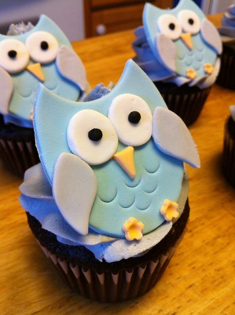 owl baby shower cupcake by rainbow robot, via Flickr