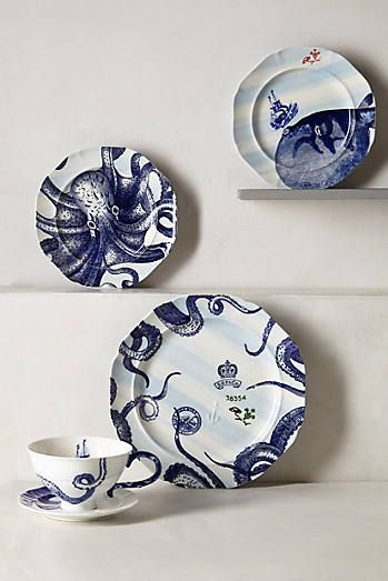 From The Deep Dinnerware octopus whale cute sea nautical stripes blue