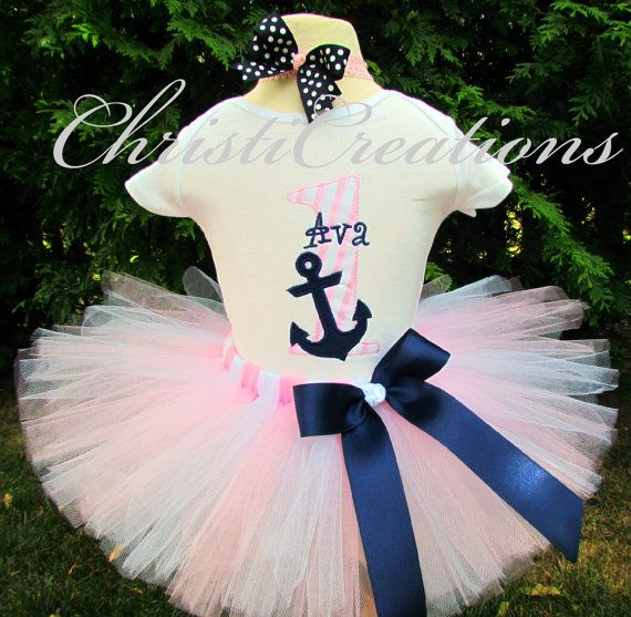 Nautical Themed --Baby Girl 1st Birthday Tutu Set--Anchor--Sailor--Party Outfit-- Photo Prop on Etsy, $60.00