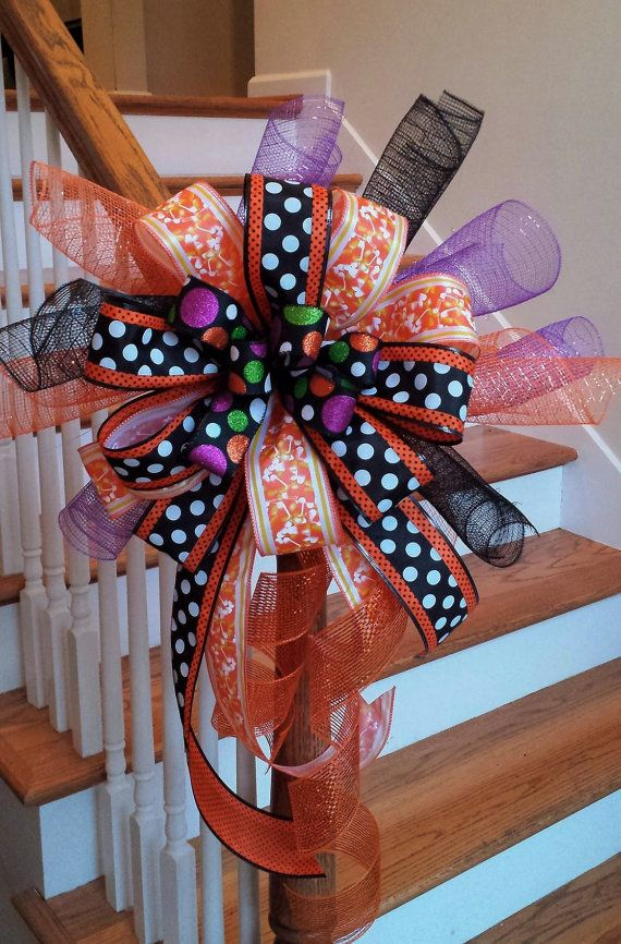 Halloween Ribbon Deco Mesh Mailbox Bow~ Candy Corn Orange Large Decoration Bow~ Orange and Black Halloween Deco Mesh Whimsical Swag Bow