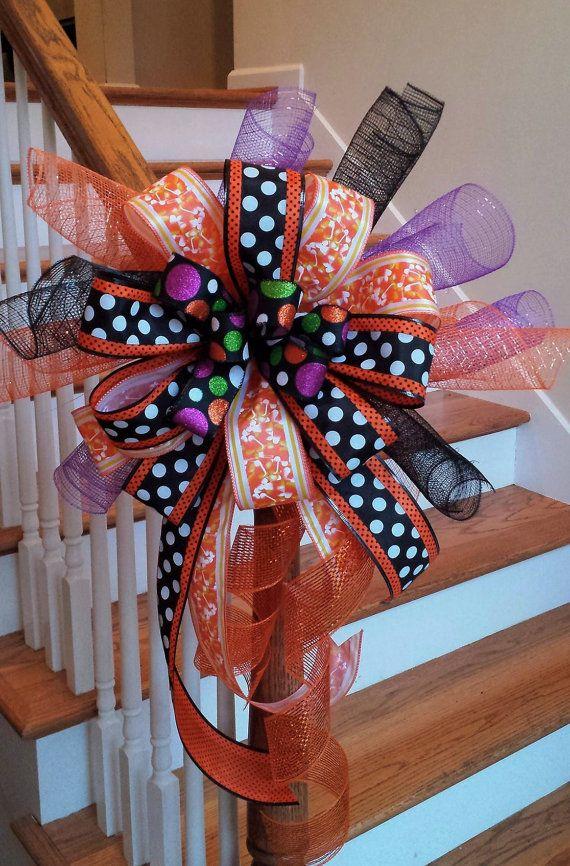 Halloween Ribbon Deco Mesh Mailbox Bow~ Candy Corn Orange Large Decoration Bow~ Orange and Black Halloween Deco Mesh Whimsical Swag Bow