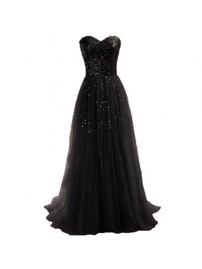 Black Strapless Gown Sequins Party Dress