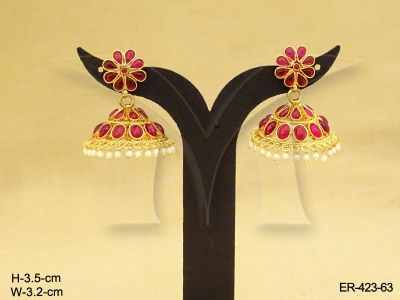 ER-423-63 | FLORAL STUD KEMP JHUMKA ANTIQUE EARRINGS