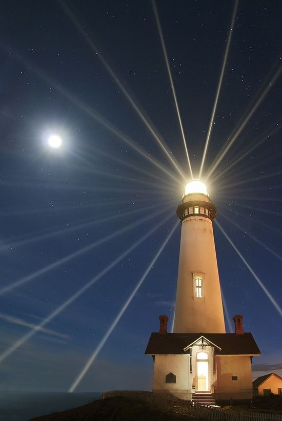 The Moon & Pigeon Point Lighthouse, San Mateo County, California.