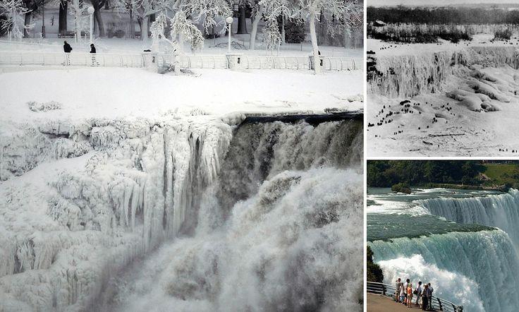 Spectacular photographs show the moment Niagara Falls FROZE as polar vortex saw record-breaking temperatures at tourist mecca