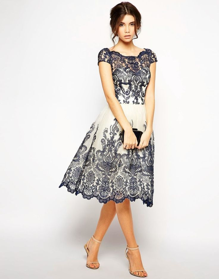 Evening dress knee length oxford