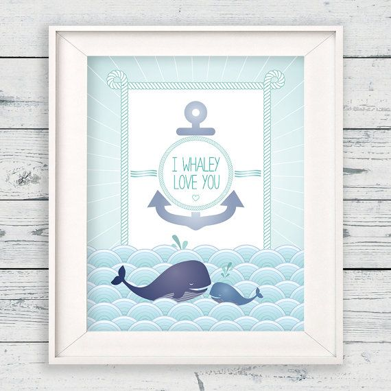 "Baby Nash S Vintage Nautical Nursery: Whale Wall Art With Cute Quote, ""I Whaley Love You"