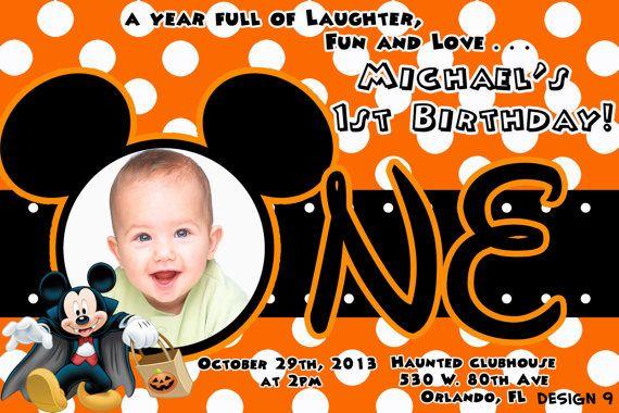 Mickey Mouse Halloween 1st Birthday Invitation and Minnie Mouse Halloween Invitations, party favors, stickers, Halloween Birthday Supplies on Etsy, $9.99