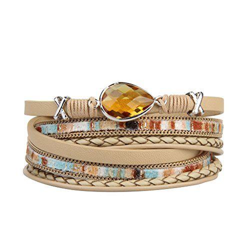 f18775796d9 Jenia Genuine Leather Wrap Bracelet Braided Rope Cuff Bangle Handmade  Jewelry for Women Girl Gift