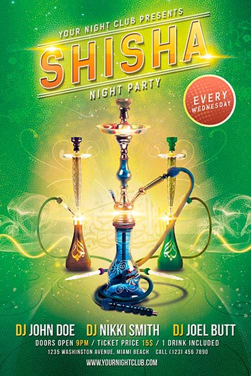 Free Shisha Party Flyer PSD Template - http://freepsdflyer.com/free-shisha-party-flyer-psd-template/ Free Shisha Party Flyer Free PSD Template download for free! This flyer was designed for a parties and events with a hookahs and shishas. Flyer is perfect for your next lounge and bar event.    #Bar, #Club, #Dj, #Event, #Glamorous, #Hookah, #Ladies, #Lounge, #Shisha