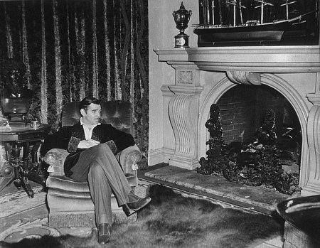 """Clark Gable relaxing on the set of """"Gone With The Wind""""."""
