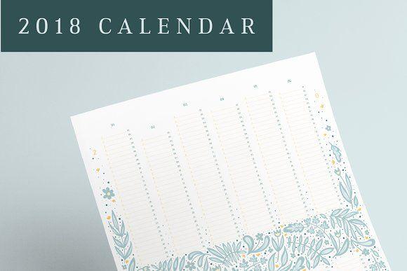 Flowery 2018 Calendar by mky on @creativemarket