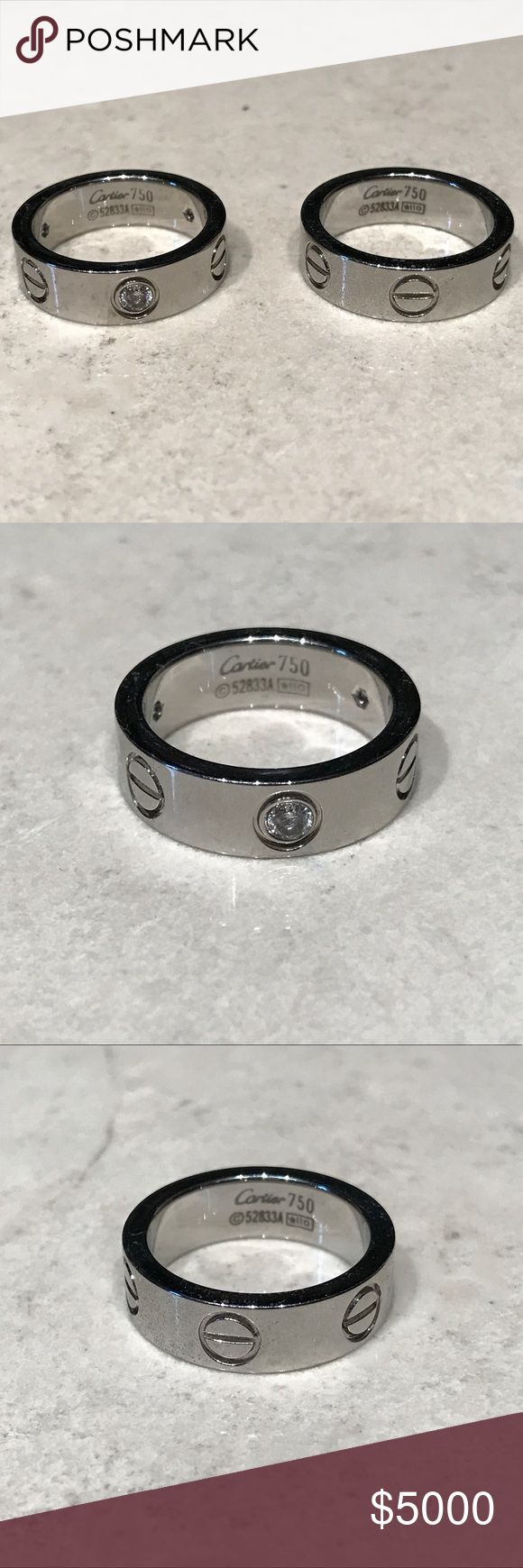 """READ DESCRIPTION BRAND NEW! I currently have these in stock: (1) SILVER W/ STUDS/DIAMONDS (2) PLAIN SILVER. Has Cartier engraving inside the ring as shown in picture and """"Love"""" engraving at the top of the rings. PRICE IS FIRM: $100 RING WITH STUDS/DIAMONDS - $75 PLAIN RING. Both size 7. THESE ARE NOT A U T H E N T I C. none Jewelry Rings"""