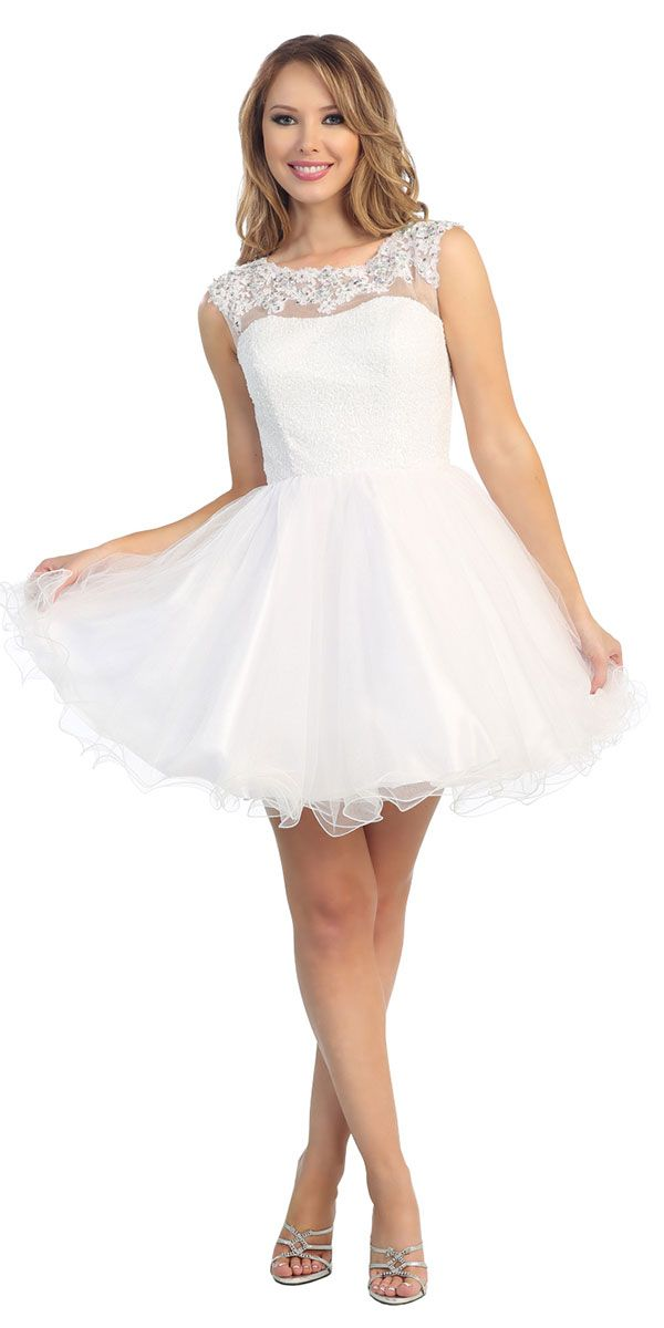 White Sequin Short Ruffle Dress LT5522-WH