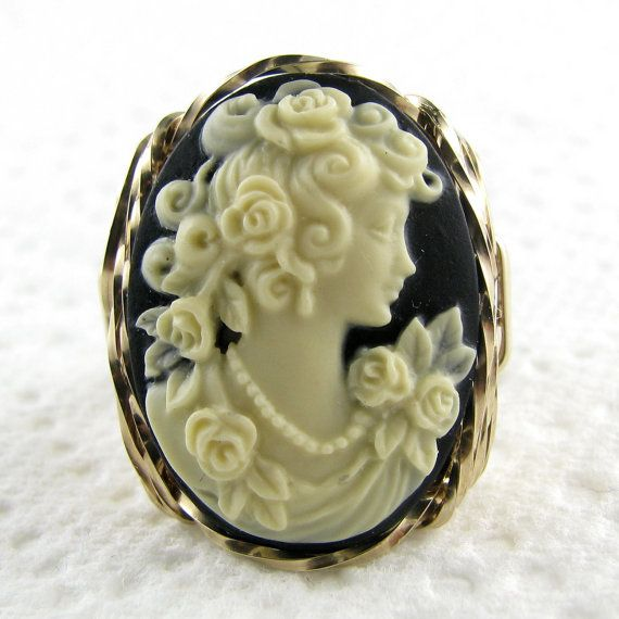 Rose Goddess Cameo Ring 14K Rolled Gold Custom by cameojewelryart