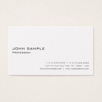 Create Your Own Modern Elegant White Minimalistic Business Card - sleek personalize diy customize cyo