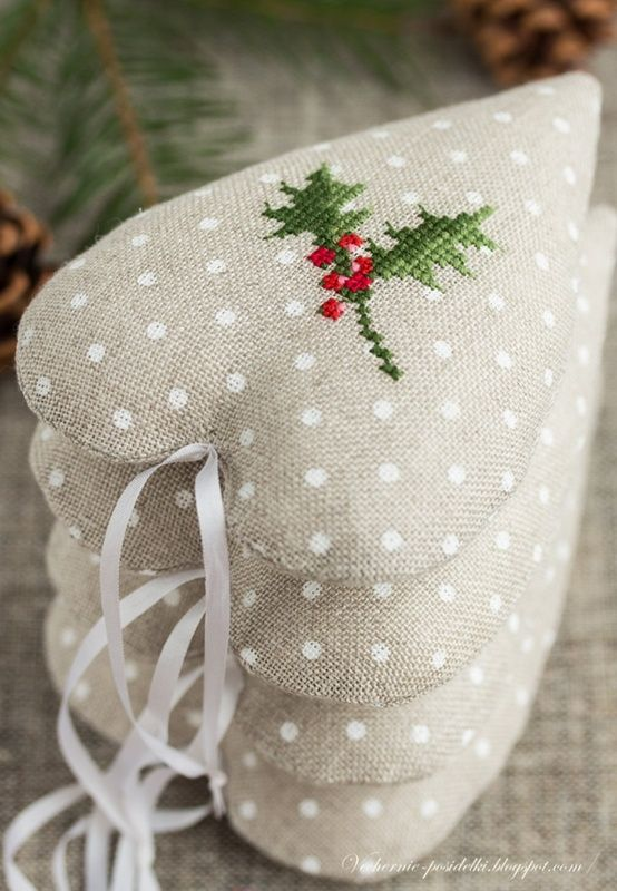 Cross-stitch embroidered heart ornaments. | REPINNED
