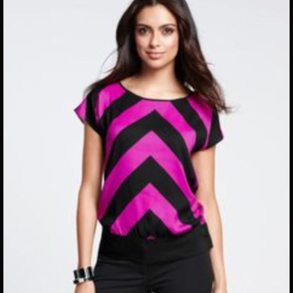 SALE! Ann Taylor Chevron Top - size 0 Ann Taylor Chevron Top - magenta & black chevron, size 0. Only worn once or twice. Like new condition. Ann Taylor Tops