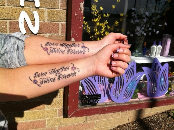 Me and my sisters twin tattoo SARAH!! We should of course do this too! But of course not in this spot or font : ))