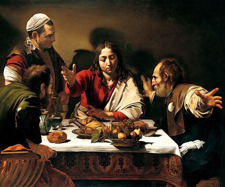 Caravaggio - Cena in Emmaus, 1602, olio su tela, 139 × 195 cm, Londra, National Gallery.