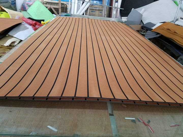Marine Boat Eva Teak Decking Sheet Dark Brown With Black Stripe 35 X 94 1 4 Marine Boat Teak Boat