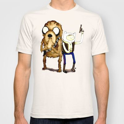 Space Adventure Time part 1 Han Solo Chewbacca Finn Jake watercolor www.justin13art.com T-shirt by Justinart13 - $18.00