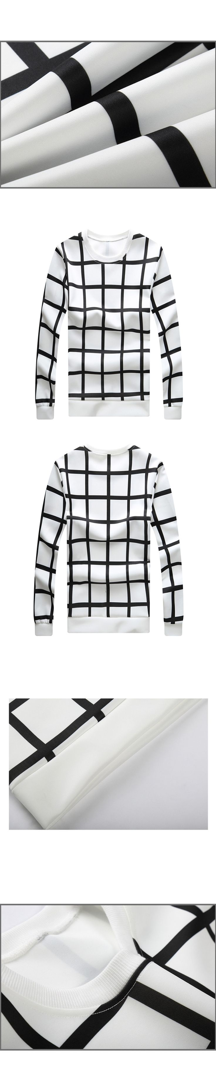 Men's brand high-quality casual sweat men 2017 new fashion sudadera hombre de marca Black and white grid round neck