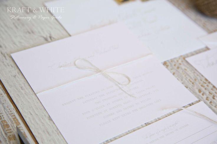 Sample wedding invitation set SUITE 2: White simplistic natural twine organic wedding invitation suite, white rustic wedding stationery set. $9.95, via Etsy.