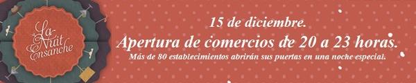 La Nuit Ensanche 15 diciembre 2011  Apertura de Comercios del Ensanche de Pamplona hasta las 23h. Photocall,  música en la calle, descuentos, catering.... http://www.areacomercial.com/15diciembre/
