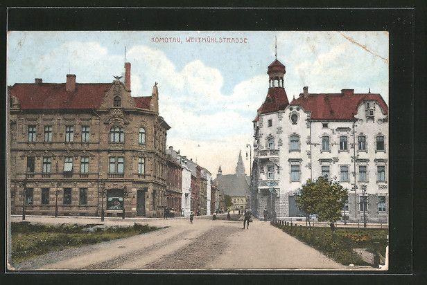 old postcard: Lithographie Komotau / Chomutov, Blick in die Weitmühlstraße