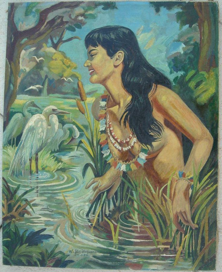 folclore brasileiro - iara ou mãe-dágua - pintura/1957