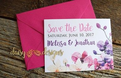 Orchid Field Save-The-Date with dark pink envelope
