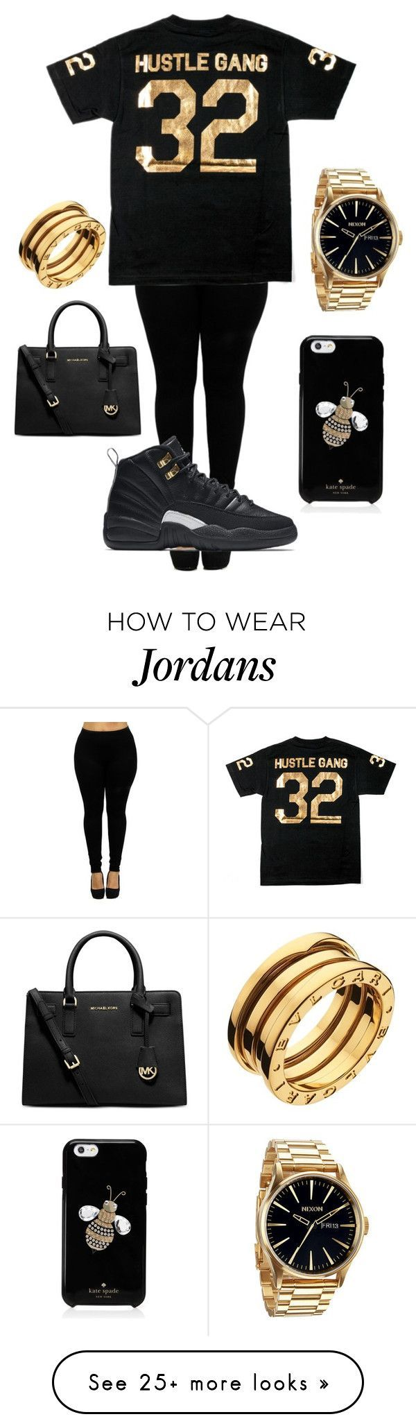 """Hustle Gang"" by therealangel on Polyvore featuring Michael Kors, NIKE, Nixon, Bulgari and Kate Spade"