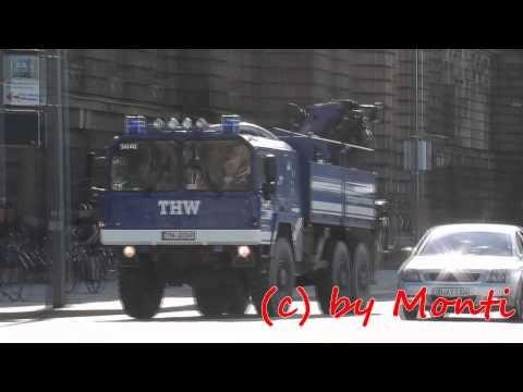 LKW-Kran [MAN KAT] THW FG Brückenbau in Dresden auf EInsatzfahrt [Hochwasser 2013] (HD) - YouTube