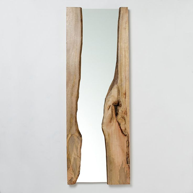 Mirror from raw edge log: slice it in half and use the raw edges on the inside