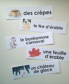 Le carnaval de Québec printable vocabulary words. YouTube vids of maple syrup harvesting process, too! French, English, and silent vids.
