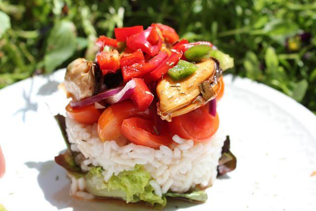 Ensalada de arroz basmati y mejillones en escabeche - Ensalada de arroz light ...